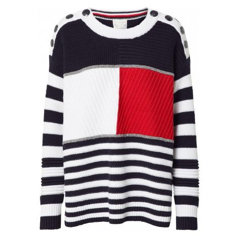 TOMMY HILFIGER Sweter 'KENYA' czerwony / niebieska noc / biały