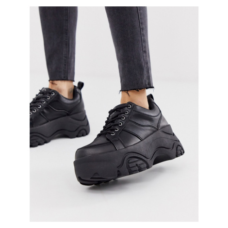 Pull&Bear chunky sole hiker boots in black Pull & Bear