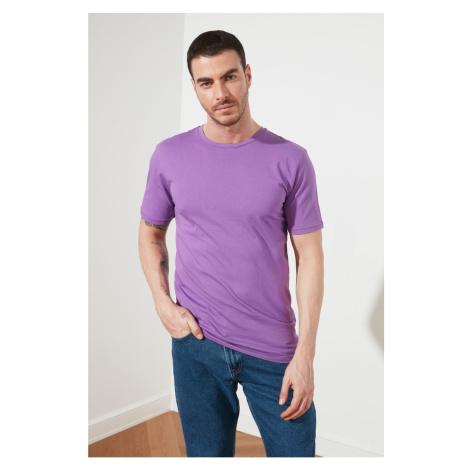 Modsyol Purple Basic Męskie Paski rowerowe Z krótkim rękawem T-Shirt Trendyol
