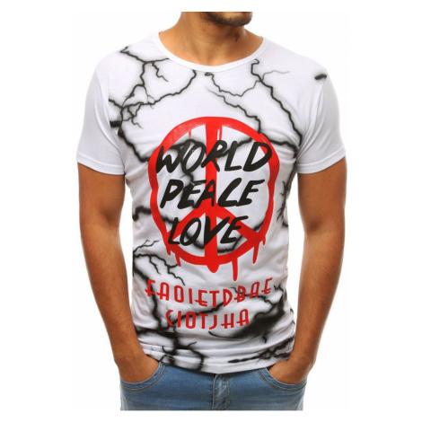 Biały męski T-shirt z nadrukiem RX3781 DStreet