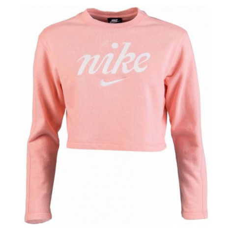 Nike NSW CREW CROP WSH różowy XL - Bluza damska