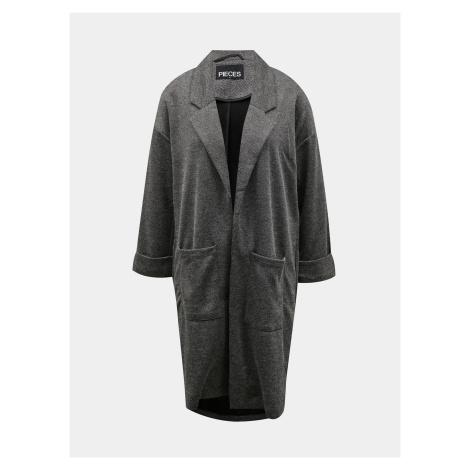 Szary jasny długi płaszcz Pieces Dorita