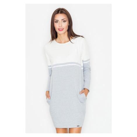 Figl Woman's Dress M510 Ecru-Grey
