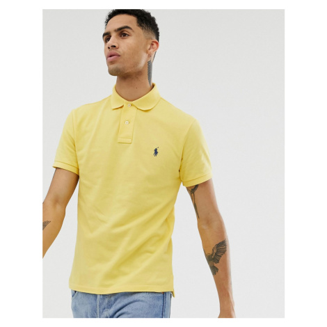 Polo Ralph Lauren player logo pique polo slim fit in yellow