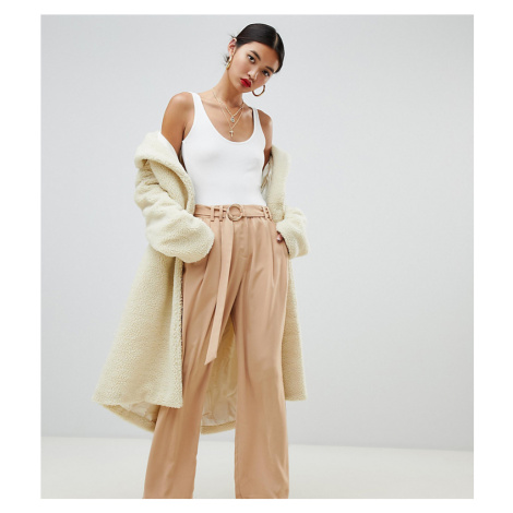 Na-kd wide leg trousers with tie waist in camel