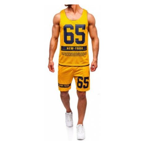 Komplet męski t-shirt + spodenki Denley żółty 100777 J.STYLE