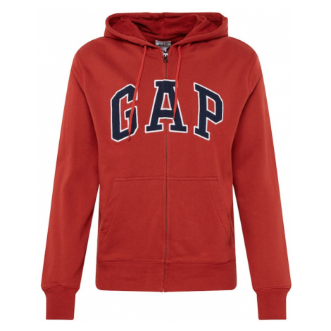 GAP Bluza rozpinana 'XLS FT ARCH FZ HD' karminowo-czerwony / biały