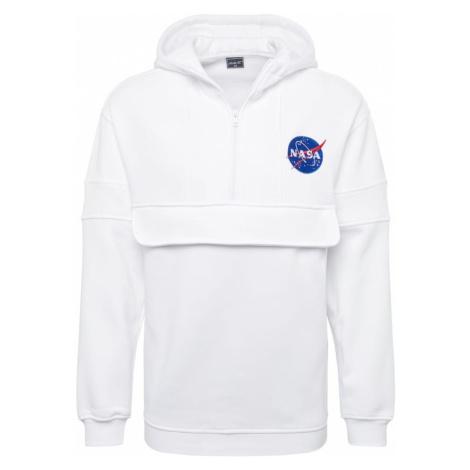 Mister Tee Bluza rozpinana 'NASA Chest Embroidery Pull Over Hoody' biały