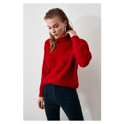 Trendyol Red Braid Detailed Knitwear Sweater