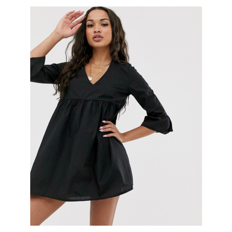 Boohoo smock dress with v neck and flared sleeves in black