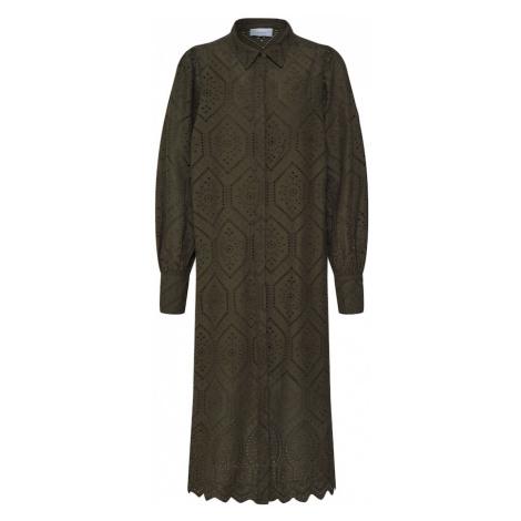 Neo Noir Sukienka koszulowa 'Melanie Embroidery' ciemnozielony