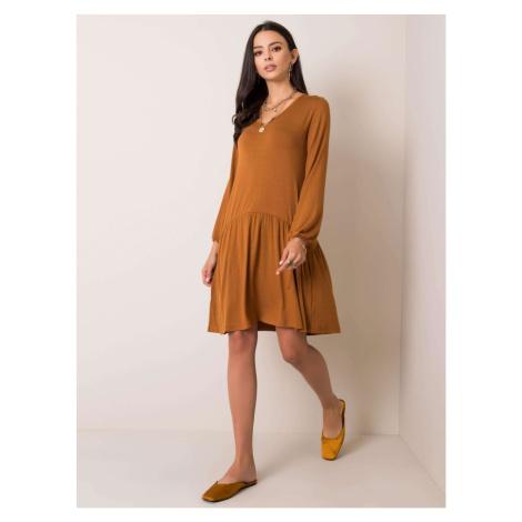 RUE PARIS Brązowa sukienka z długim rękawem