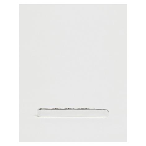 ASOS DESIGN slim tie bar in silver tone