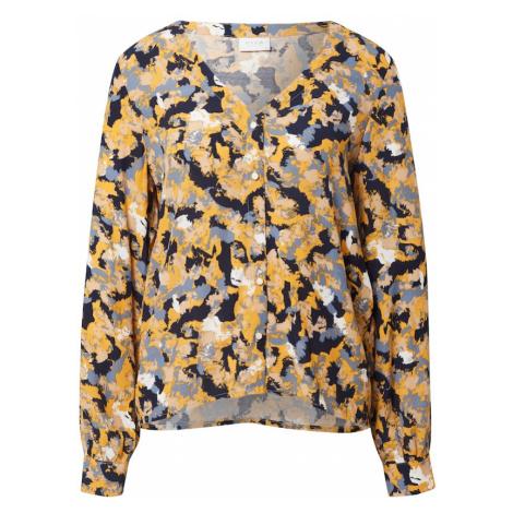 VILA Bluzka 'BORINE BRIANA' biały / granatowy / żółty / podpalany niebieski
