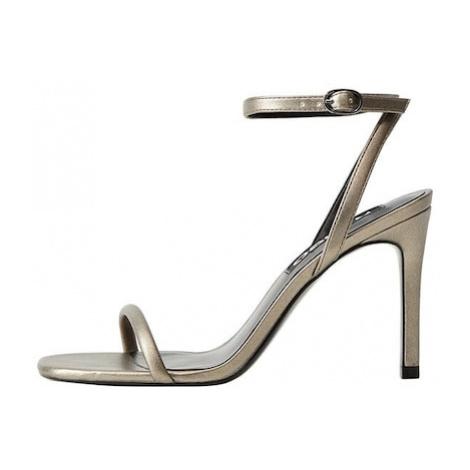 MANGO Sandały z rzemykami srebrny