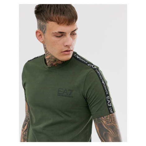 EA7 Logo Series slim fit taped t-shirt in khaki Armani