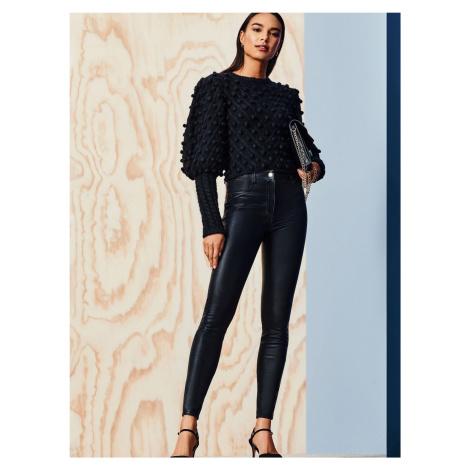 Czarne spodnie skinny ze sztucznej skóry Dorothy Perkins