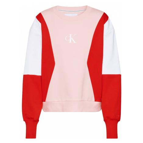 Calvin Klein Jeans Bluzka sportowa ' COLOR BLOCK ' czerwony / różowy pudrowy / biały
