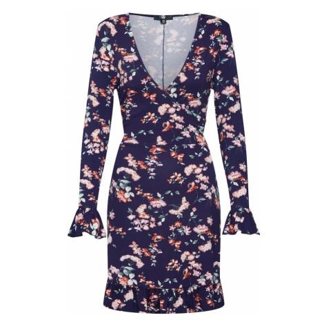 Missguided Sukienka 'Floral Front Wrap Dress' granatowy / różowy pudrowy