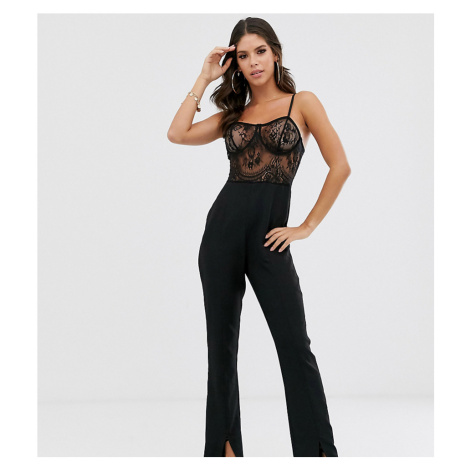 Missguided Tall lace top jumpsuit with split leg in black