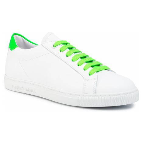 Sneakersy EMPORIO ARMANI - X3X086 XM421 M662 Opt.White/Green Fluo