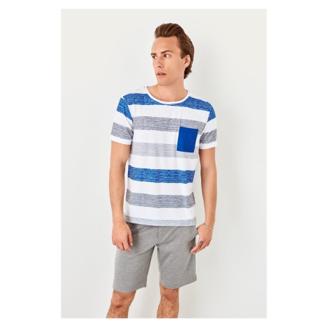 Trendyol Blue Pocket Detailed striped T-shirt