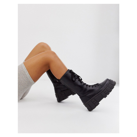 ASOS DESIGN Athens chunky high lace up boots in black