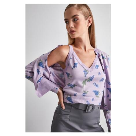 Trendyol Lila Jacquard Knitwear Cardigan