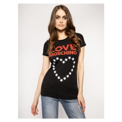 LOVE MOSCHINO T-Shirt W4F7356E 1698 Czarny Regular Fit