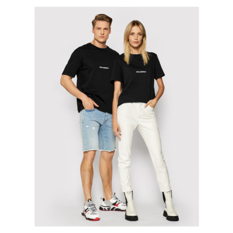 KARL LAGERFELD T-Shirt Unisex Logo 211U1700 Czarny Regular Fit