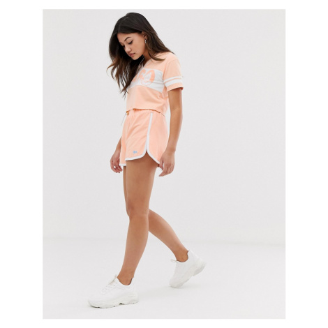 Lonsdale high waisted varsity short in peach