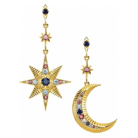 Thomas Sabo Kolczyki 'Royalty Stern & Mond' niebieski / złoty / różowy pudrowy / biały