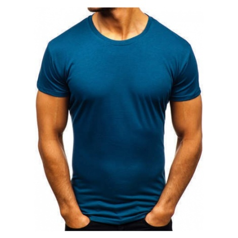 T-shirt męski bez nadruku indygo Denley 2005 J.STYLE
