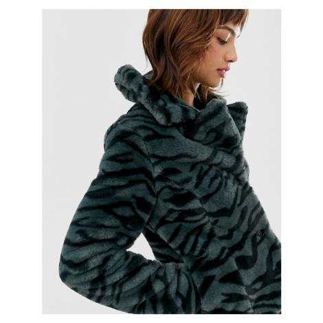Goosecraft faux fur jacket with zebra detail