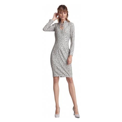 Wzorzysta sukienka ze stójką i dekoltem typu łezka Colett