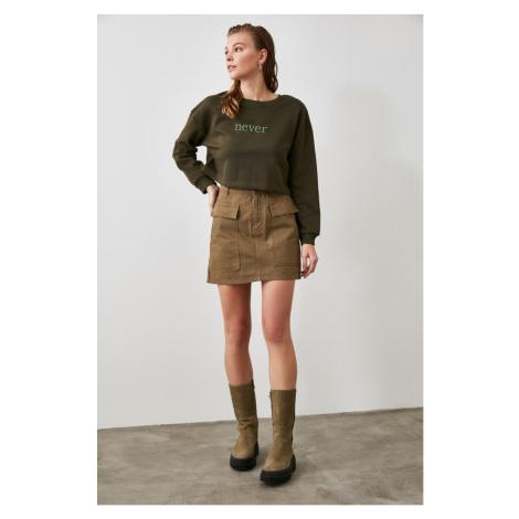 Trendyol Khaki Pocket Detailed Denim Skirt