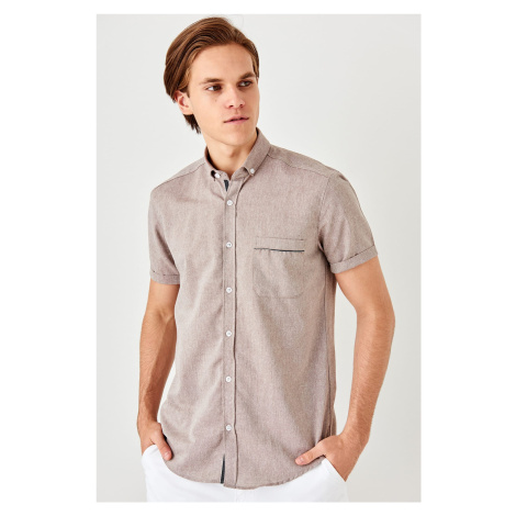 Trendyol Brown Mens Slim Fit Short Sleeve single pocket pocket top Extrufoam Shirt