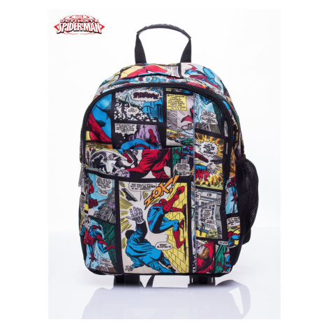 Black backpack for school with a Spiderman theme