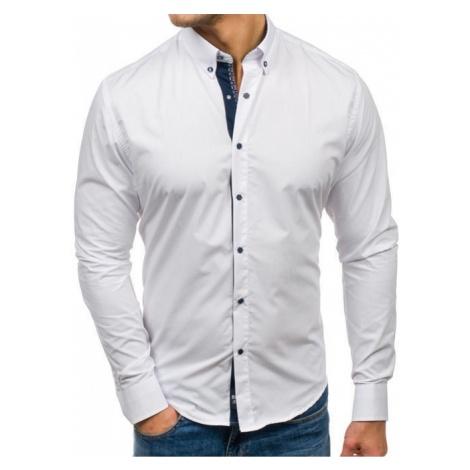 Koszula męska elegancka z długim rękawem biała Bolf 7723