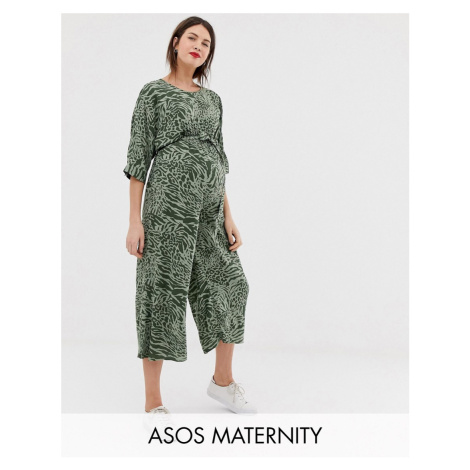 ASOS DESIGN Maternity tie waist jumpsuit in animal print