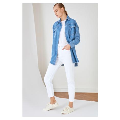 Trendyol biały szczupły nogawka mama dżinsy