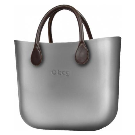 O bag torebka MINI Silver z krótkimi brązowymi uchwytami ze skajki