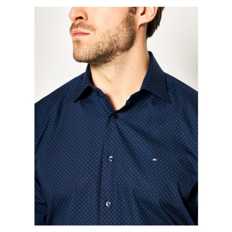 Tommy Hilfiger Tailored Koszula Poplin Dot Classic TT0TT06463 Granatowy Regular Fit