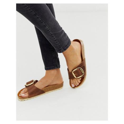Birkenstock Madrid Big Buckle flat sandals in tan