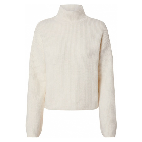 NA-KD Sweter 'short wide sleeve knitted polo' offwhite