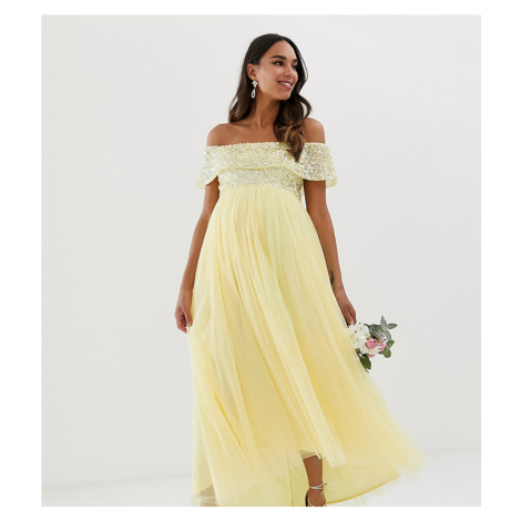 Maya Maternity Bridesmaid delicate sequin bardot high low maxi dress in lemon