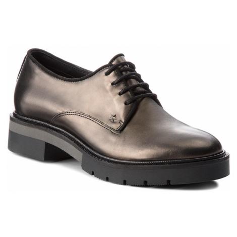 Oxfordy TOMMY HILFIGER - Metallic Leather Lac FW0FW03150 Dark Silver 015