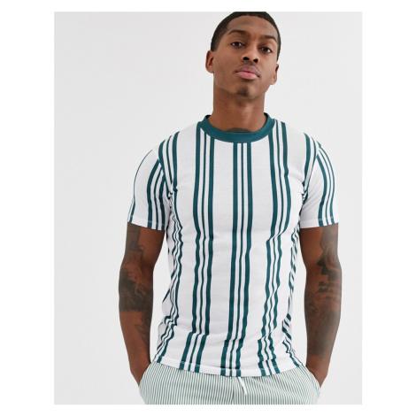 ASOS DESIGN vertical stripe t-shirt in teal