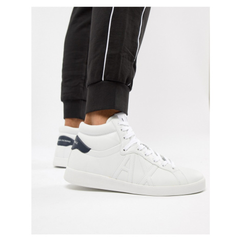 Armani Exchange high top trainer in white