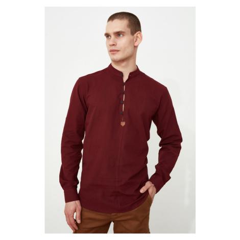 Trendyol Burgundy Męska koszula na kołnierze regularny fit